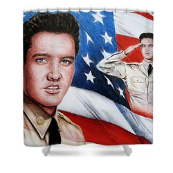 Elvis Patriot  Shower Curtain by Andrew Read