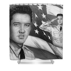 Elvis Patriot Bw Signed Shower Curtain by Andrew Read
