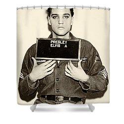 Elvis Presley - Mugshot Shower Curtain by Bill Cannon