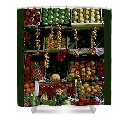 Shower Curtain featuring the photograph Glowing Paris Fruit Display by Tom Wurl