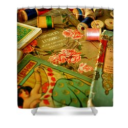 Embroidery Lessons Early 1900s Shower Curtain by Rebecca Sherman