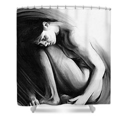 Shower Curtain featuring the drawing Embryonic II by Paul Davenport
