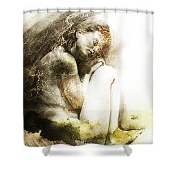 Shower Curtain featuring the drawing Embryonic Drawing Textured by Paul Davenport