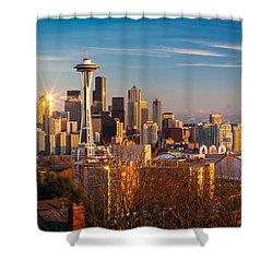 Emerald City Sunset Shower Curtain by Inge Johnsson