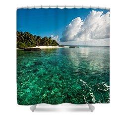 Emerald Purity. Kuramathi Resort. Maldives Shower Curtain by Jenny Rainbow