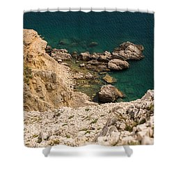 Emerald Sea Shower Curtain by Davorin Mance