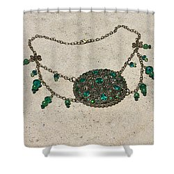 Emerald Vintage New England Glass Works Brooch Necklace 3632 Shower Curtain by Teresa Mucha