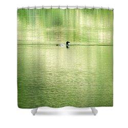 Emerald Water Shower Curtain by Ramona Johnston