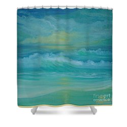 Emerald Waves Shower Curtain by Holly Martinson