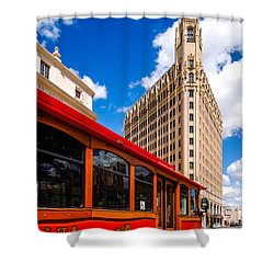 Emily Morgan Hotel And Red Streetcar - San Antonio Texas Shower Curtain