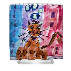 Emma's Spotted Kitty Shower Curtain by Alice Gipson