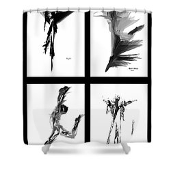 Emotions In Black - Abstract Quad Shower Curtain
