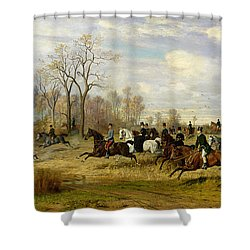 Emperor Franz Joseph I Of Austria Hunting To Hounds With The Countess Larisch In Silesia Shower Curtain by Emil Adam