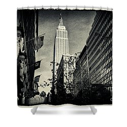 Empire State Building And Macys In New York City Shower Curtain by Sabine Jacobs