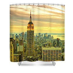 Empire State Building In The Evening Shower Curtain