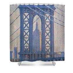 Empire State Building Through The Manhattan Bridge Shower Curtain by Jean-Pierre Ducondi