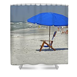 Shower Curtain featuring the photograph Empty Beach Chair by Charles Beeler