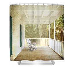 Empty Chairs Shower Curtain by Judy Hall-Folde