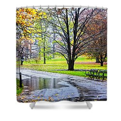 Empty Walkway On A Beautiful Rainy Autumn Day Shower Curtain by Nishanth Gopinathan