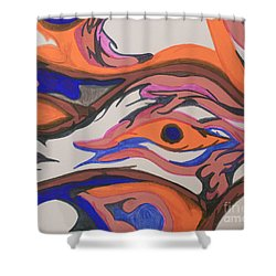 En Formation Shower Curtain by Mary Mikawoz