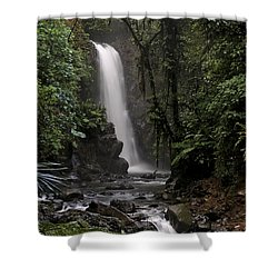 Encantada Waterfall Costa Rica Shower Curtain by Teresa Zieba