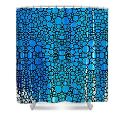 Enchanted - Blue And White Abstract Stone Rock'd Art By Sharon Cummings Shower Curtain by Sharon Cummings