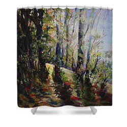 Shower Curtain featuring the painting Enchanted Forest by Sher Nasser
