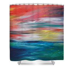 Shower Curtain featuring the painting End Of Day by PainterArtist FIN