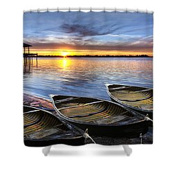 End Of The Day Shower Curtain by Debra and Dave Vanderlaan