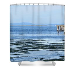 End Of The World In Blue Shower Curtain