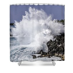 End Of The World Explosion Shower Curtain by Denise Bird