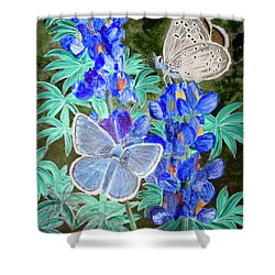 Endangered Mission Blue Butterfly Shower Curtain