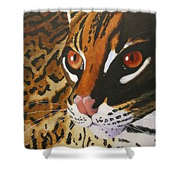 Endangered - Ocelot Shower Curtain by Mike Robles
