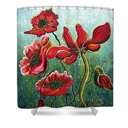 Endless Poppy Love Shower Curtain by Jolanta Anna Karolska