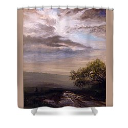 Shower Curtain featuring the painting Endless Road Eternal Being by Mikhail Savchenko