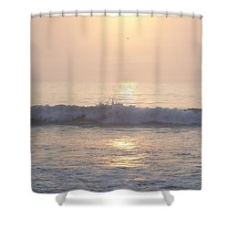 Hampton Beach Wave Ends With A Splash Shower Curtain by Eunice Miller