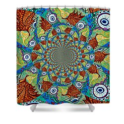 Energy Sprite Kaleidosope Shower Curtain by Genevieve Esson