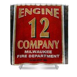 Engine 12 Shower Curtain by Susan  McMenamin
