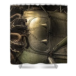 Shower Curtain featuring the photograph Radial Engine And Fuselage Detail - Radial Engine Aluminum Fuselage Vintage Aircraft by Gary Heller