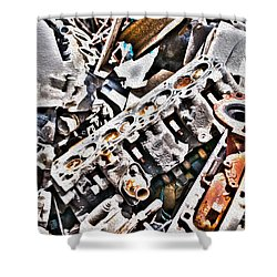 Engine For Parts - Automotive Recycling Shower Curtain by Crystal Harman