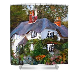 Shower Curtain featuring the painting English Cottage by LaVonne Hand