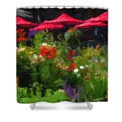 Shower Curtain featuring the digital art English Country Garden by Richard Farrington