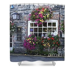 Shower Curtain featuring the photograph English Shop by Bev Conover