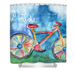 Enjoy The Ride- Colorful Bike Painting Shower Curtain by Linda Woods