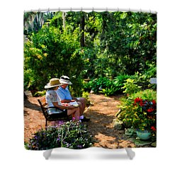 Loving Couple Enjoying Their Prayer Garden Shower Curtain