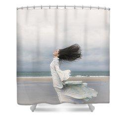 Enjoying The Wind Shower Curtain by Joana Kruse
