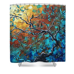 Enormous Abstract Bird Art Original Painting Where The Heart Is By Madart Shower Curtain by Megan Duncanson