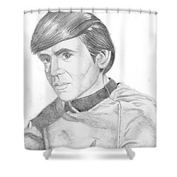 Shower Curtain featuring the drawing Ensign Pavel Chekov by Thomas J Herring