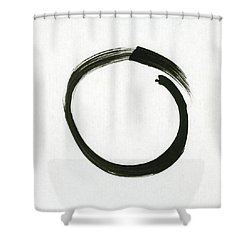 Enso #1 - Zen Circle Minimalistic Black And White Shower Curtain