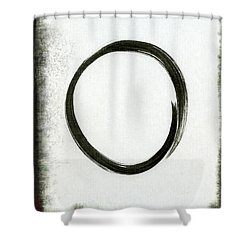Enso #2 - Zen Circle Abstract Black And Red Shower Curtain